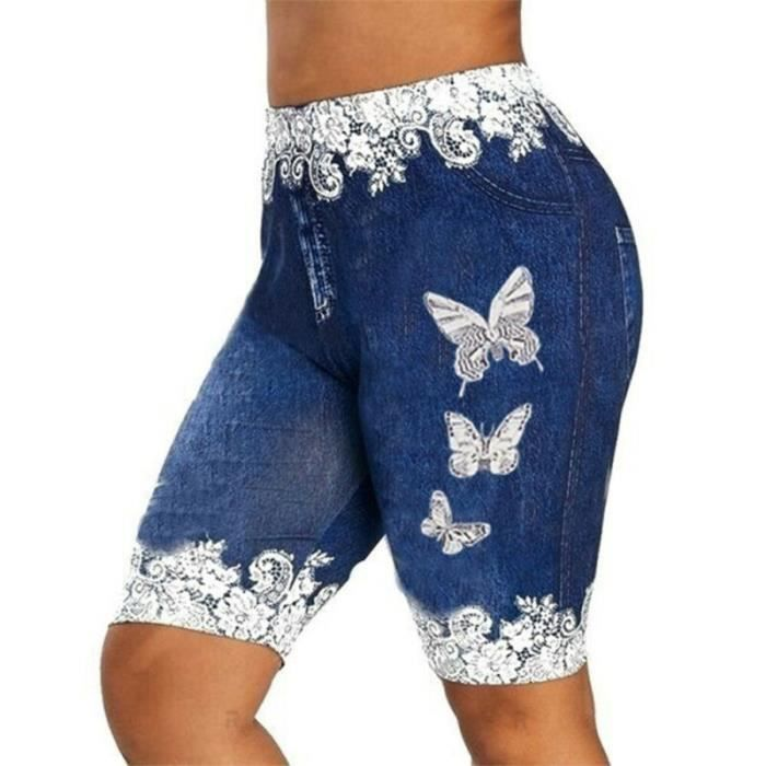 Leggings d'été pour femmes taille basse skinny imprimé de yoga-gym - Bleu foncé M