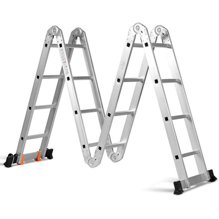 Échelle Pliante Multifonction Extensible 4,7 M en Aluminium, avec 2 Montants, Échelons 4 x 4, 2 Roues Amovibles, Charge Max. 150 KG