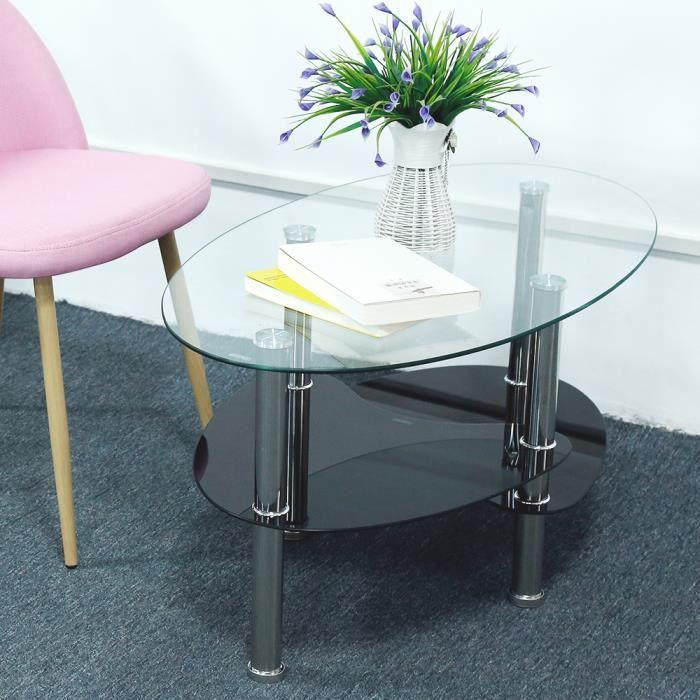 MIXMEST° Table basse noir et transparent en verre trempé oval