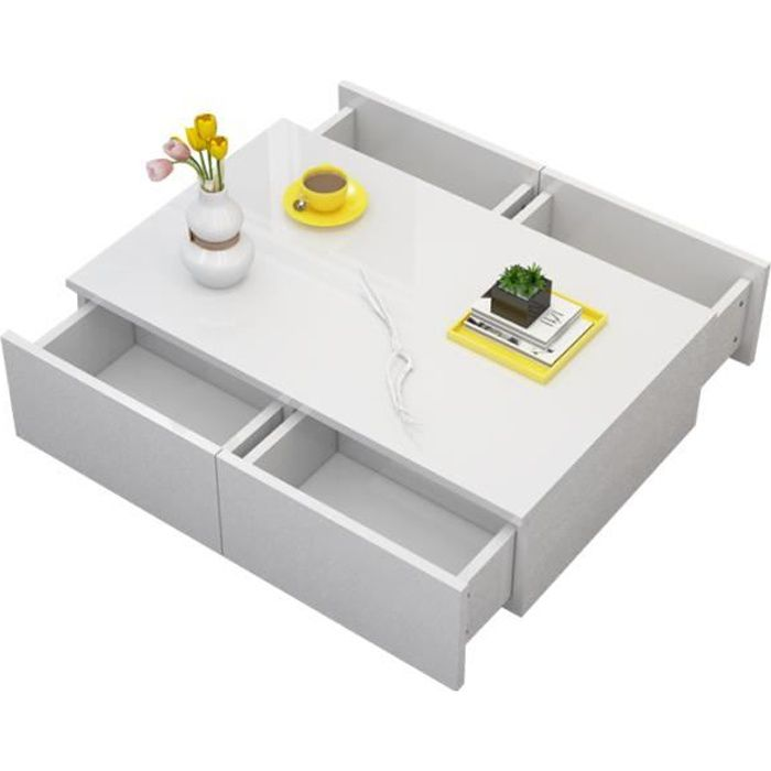 Table basse style contemporain laqué blanc brillant 4 tiroirs HB044