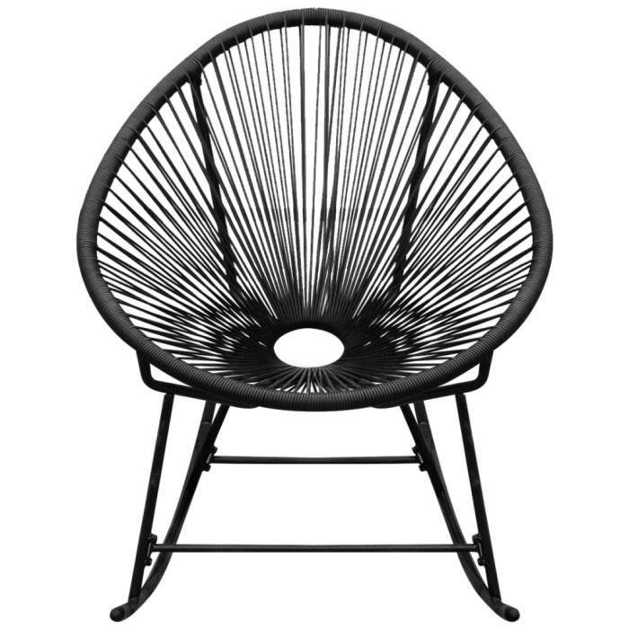 Chaises d'exterieur Chaise a bascule de jardin en rotin synthetique noir