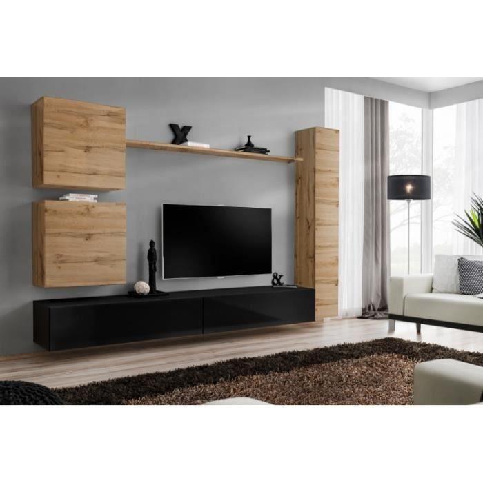 -Ensemble meuble salon mural SWITCH VIII.Meuble TV mural design, coloris noir brillant et chêne Wotan.