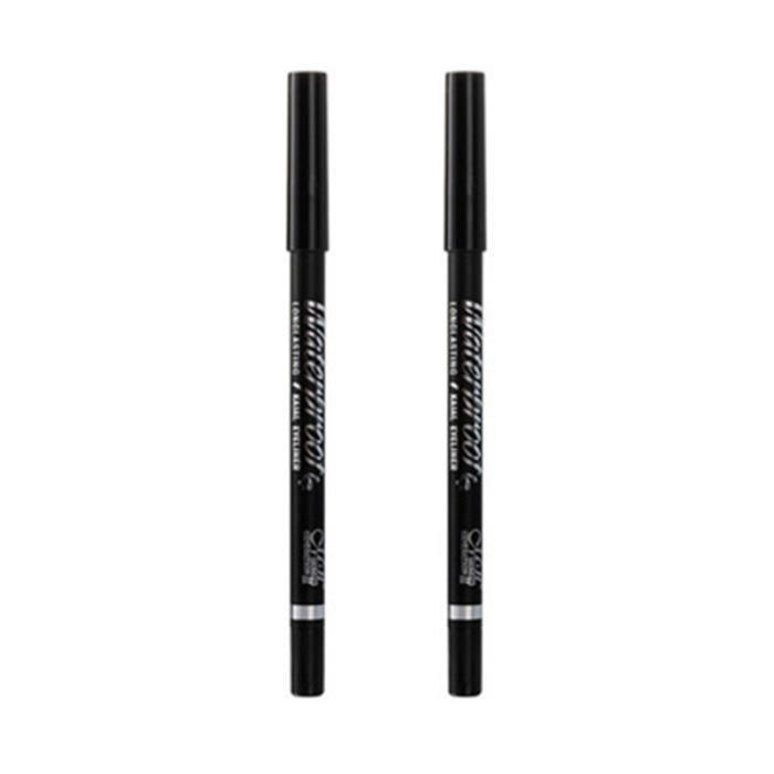 2 pièces crayons pour les yeux noir imperméable à l'eau durable couleur anti-taches cosmétiques pour EYE-LINER - PENCIL - KHOL