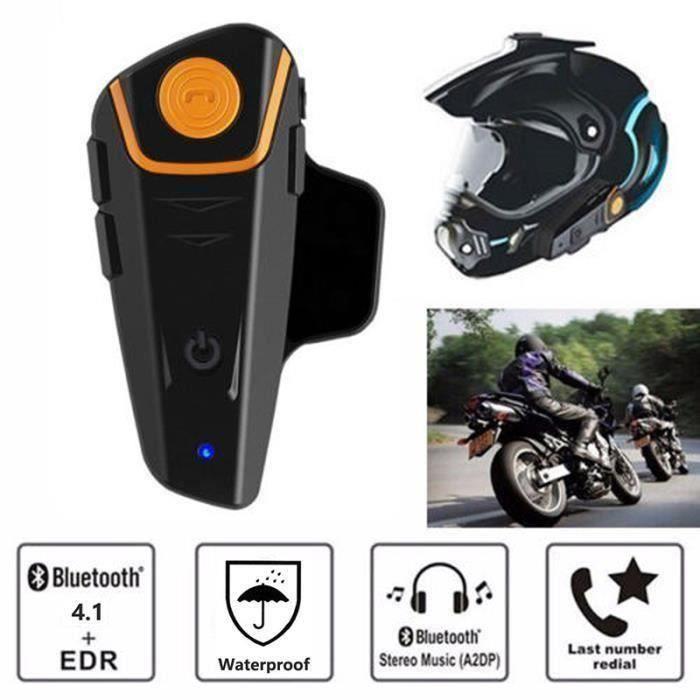 Intercom Moto Oreillette Bluetooth Kit Moto Main Libre. QTA35 800m Ecouteur Bluetooth, Walkie-Talkie intégrable au Casque Moto(1pc