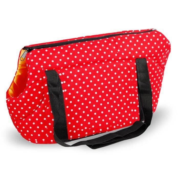Sac à dos chien avec impression à points Sac de transport pour chien chiot confortable et doux, sacs - Type Red-S