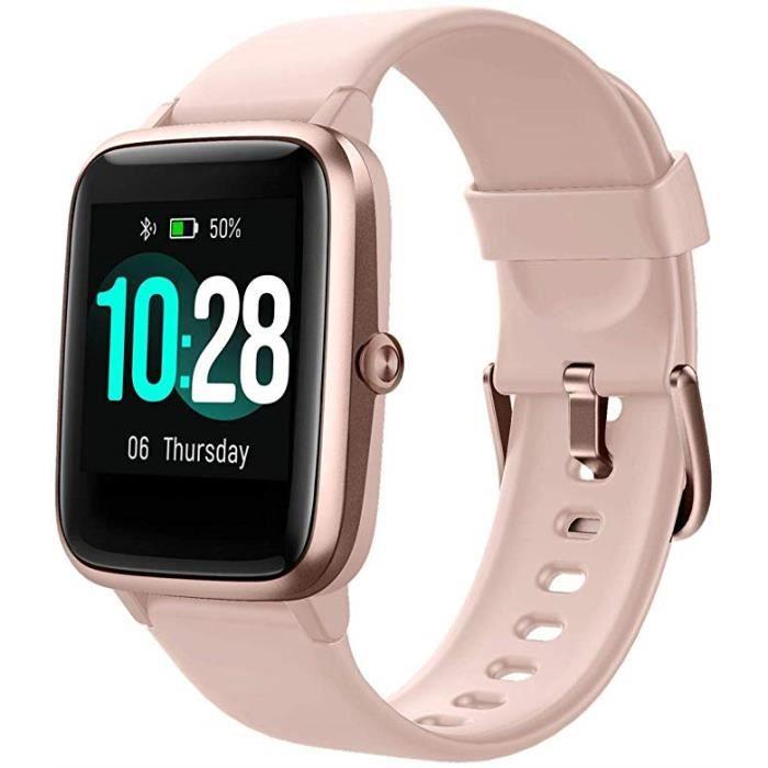 Montre Connectée Femmes,Montre Intelligente Homme IP68Etanche Bracelet Connecté Cardio Podometre Smartwatch Sport Fitness Tracker d'