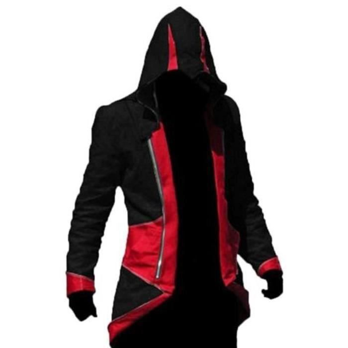 Assassin's Creed 3 Faux Leather Jacket in Black & Red colour
