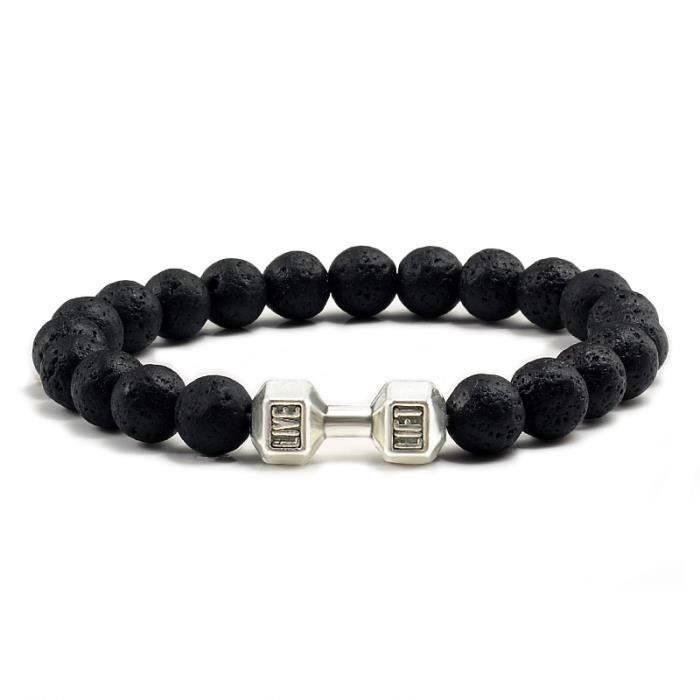 Bracelet Haltère Noir Mat Perles Les Femmes Fitness Argent1031