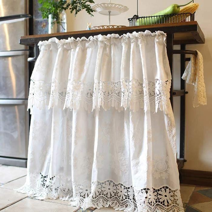 DOUBLE RIDEAUX s Rideau Court Fenetre De Coton Rideau Brise Bise Cuisine Dentelle Rideaux Occultants Thermique Petit Rideau Cant239