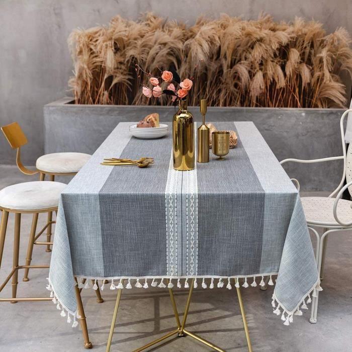 NAPPE DE TABLE SUNBEAUTY Nappe Rectangulaire Coton Lin Vintage Grise Decoration Table Cloth Cotton Tablecloth Rectangle 140x220 731