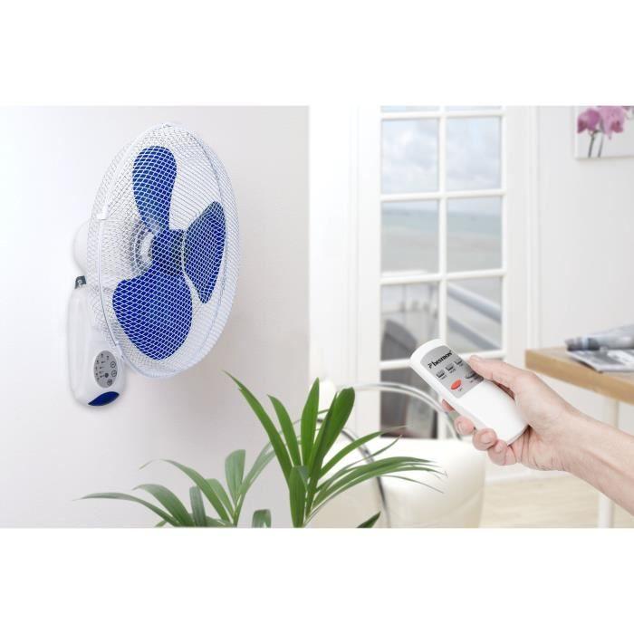 BESTRON Ventilateur Mural - Panier 40 cm - 45W - en blanc + Télécommande