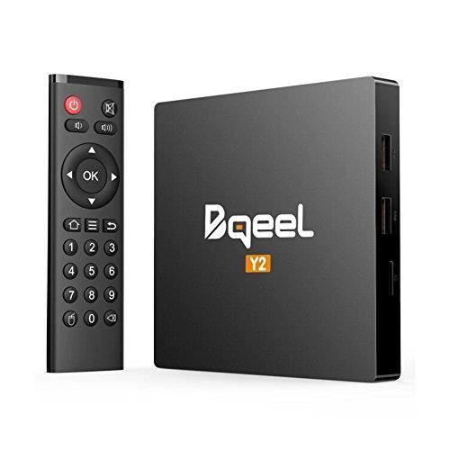 Bqeel Android TV Box 2GB+16GB TV Box Android 7.1 Boîtier Multimédia Y2 H.265 HD Vidéo Quad-Core 64bit Wi-FI 2.4G 802.11 b-g-n Giga