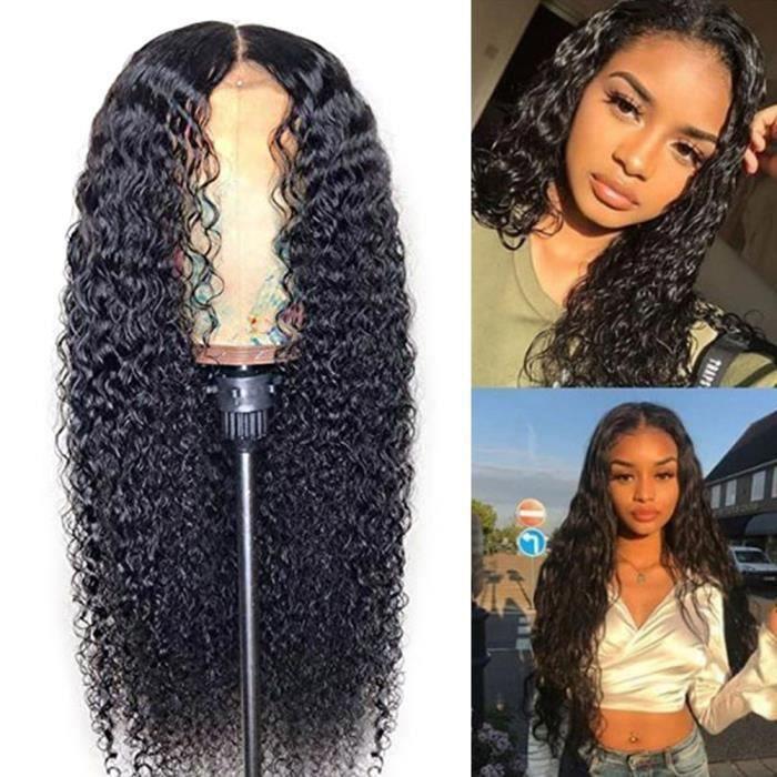 GOBRO Perruque Femme Naturelle Brésilien Glueless Deep Curly Lace Front Wigs for Black Women 24 Pouces