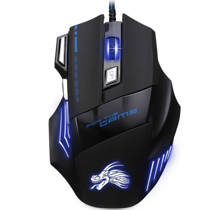LEMONBEST® 5500Dpi Souris Filaire Led Optique Gaming Mouse Usb Gamer Mouse 7 Boutons