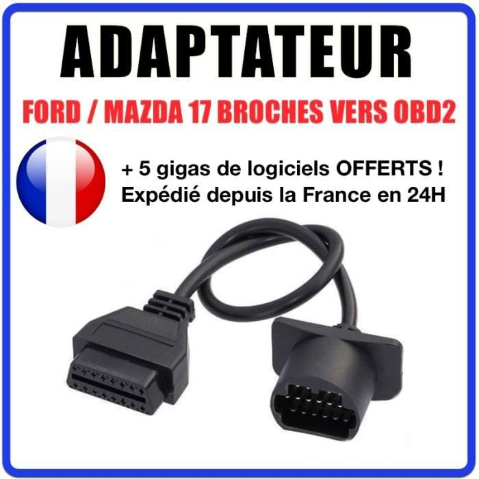 Connecteur diagnostic CABLE OBD2 17 broches VERS 16 pin - Compatible FORD