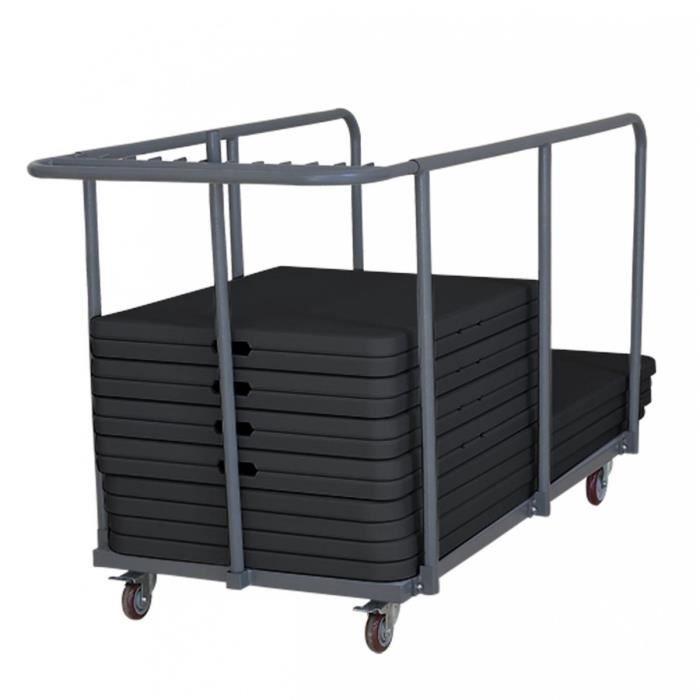 18 tables pliantes noires + chariot de transport