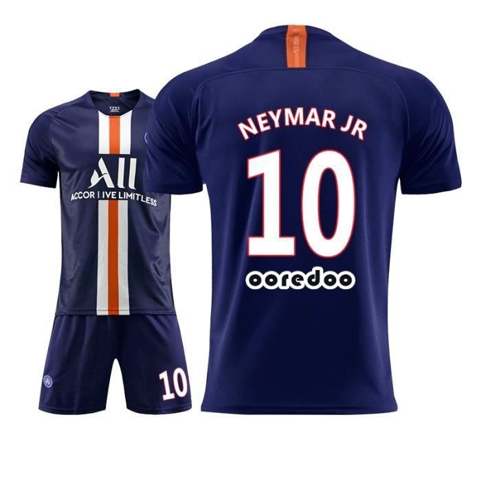 Maillot de Foot Short Football Soccer Nouveau PSG NO.10 Neymar JR 2019 2020 Pas Cher pour Enfant Garçon