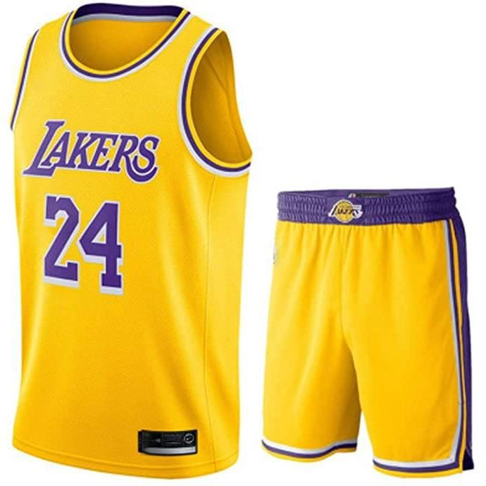 Maillot de Basket Ball Los Angeles Lakers #24 Kobe Bryant (Maillot + Shorts)Homme Basketball Pas Cher Jaune