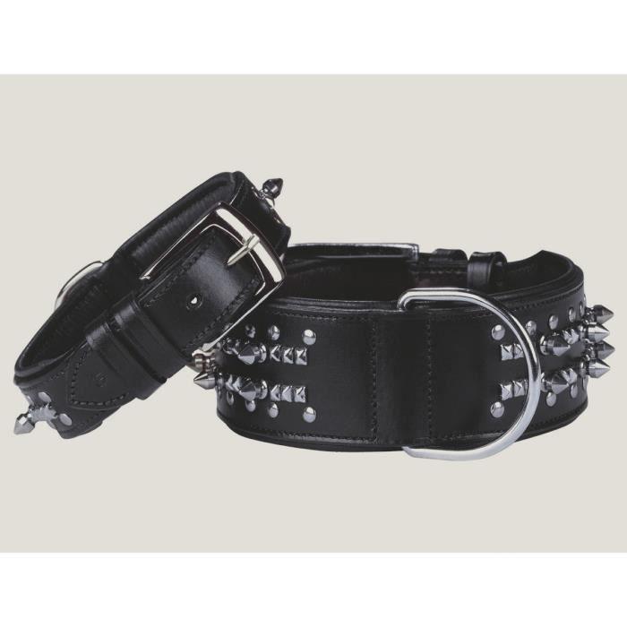 NOBBY Collier chien Delgado cuir noir 55cm x 50mm