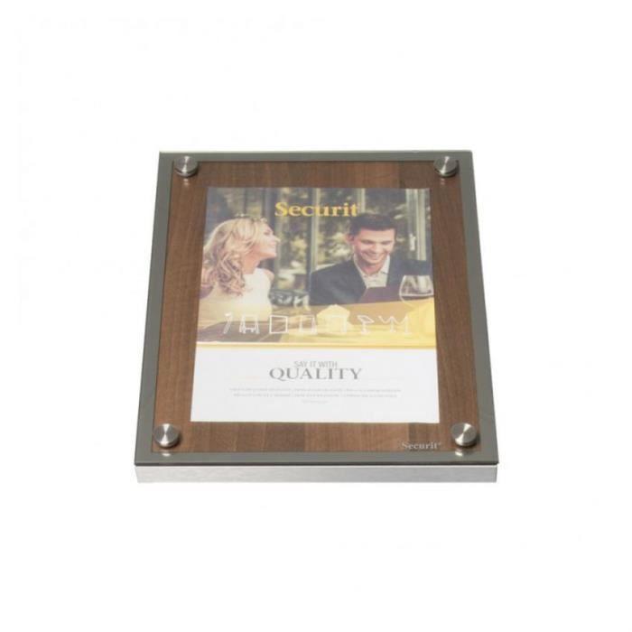 Porte-menu 1 x A4 Glass Star en bois aspect noyer - Support menu hôtel restaurant Sans pied Bois