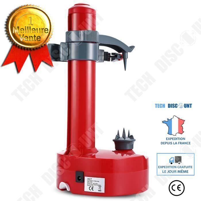 TD® Machine à éplucher électrique avec système de rotation acier inoxydable alimentation piles fruits et légumes machine cuisine