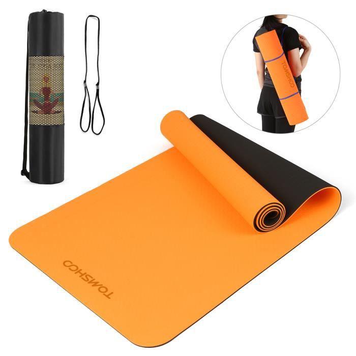 TOMSHOO 72.05 × 24.01in Portable Double Dual-colour Yoga Mat Thicken Sports Mat Tapis d'exercice antidérapant pour les entraînem-663