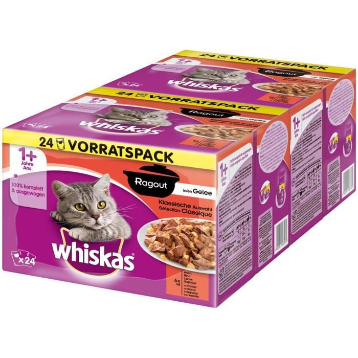 whiskas 5900951267567 - COMMUTATEUR KVM - Chat Aliment humide Ragoût pour chats âgés de 1 + - Lot de 4