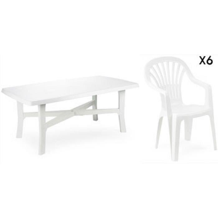 Grande table 180 cm + 6 fauteuils en plastique blanc et ...