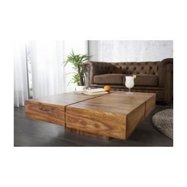 Table basse carr e en bois floriana achat vente table for Table de sejour carree