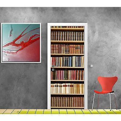 stickers pour porte trompe l oeil d co biblioth que r f 759 dimensions 93x204cm achat. Black Bedroom Furniture Sets. Home Design Ideas