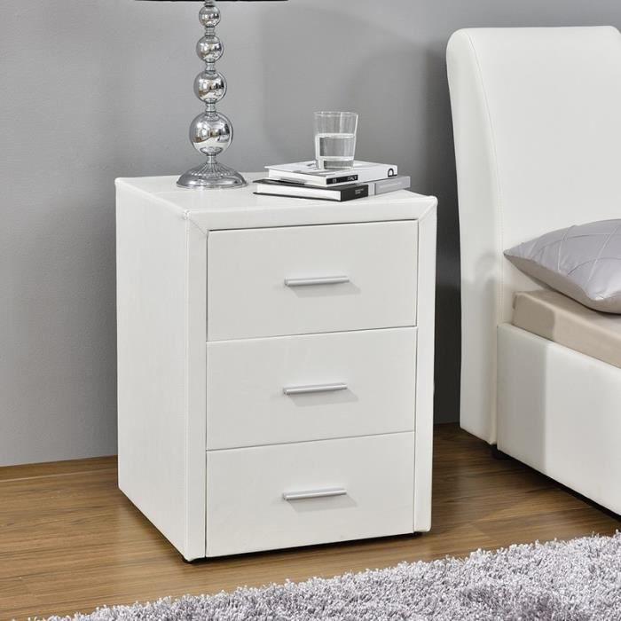table chevet 3 tiroirs kasi blanc