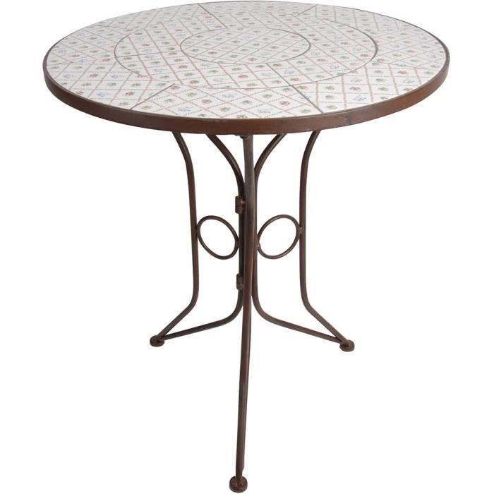 Petite table ronde en céramique et métal Botanicae Marron ...