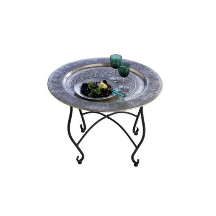Table basse berbère avec plateau sculpté amovible nomade ...