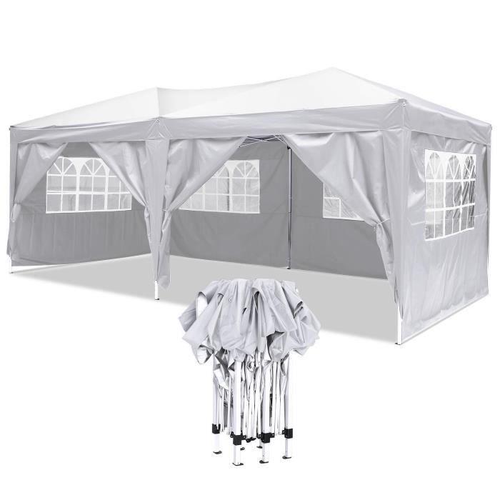 Tente avec 4 Panneaux latéraux Amovibles 3x6m Blue w/Zipper ...