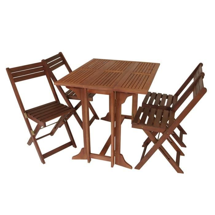 Set de jardin balcon 4 chaises pliantes 1 table pliante bois d 39 eucalyptus - Table pliante chaises integrees ...