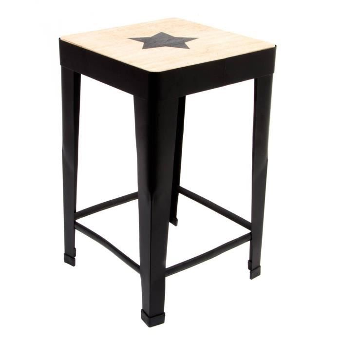 tabouret bois m tal 30x30x49 cm toile achat vente. Black Bedroom Furniture Sets. Home Design Ideas