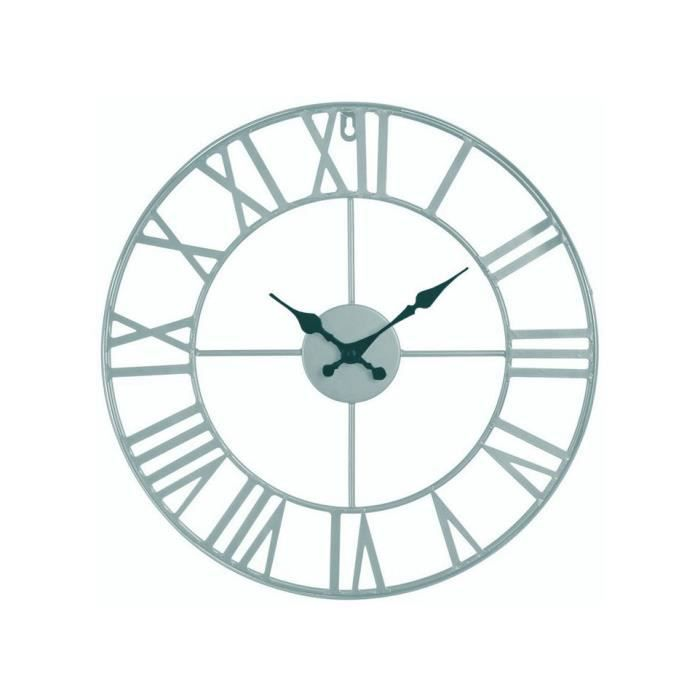 horloge murale metal vintage gris 40 cm achat vente horloge cdiscount. Black Bedroom Furniture Sets. Home Design Ideas
