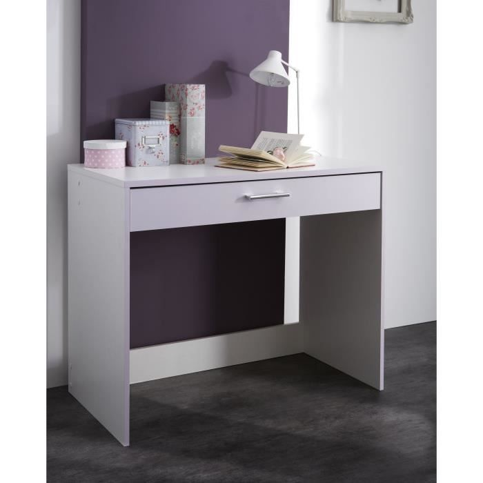 lina bureau 1 tiroir blanc parme achat vente bureau. Black Bedroom Furniture Sets. Home Design Ideas
