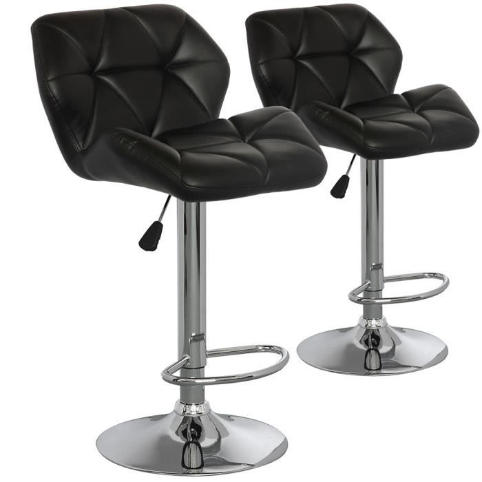 Lot de 2 chaises de bar lizie noir achat vente chaise for Achat chaise de bar