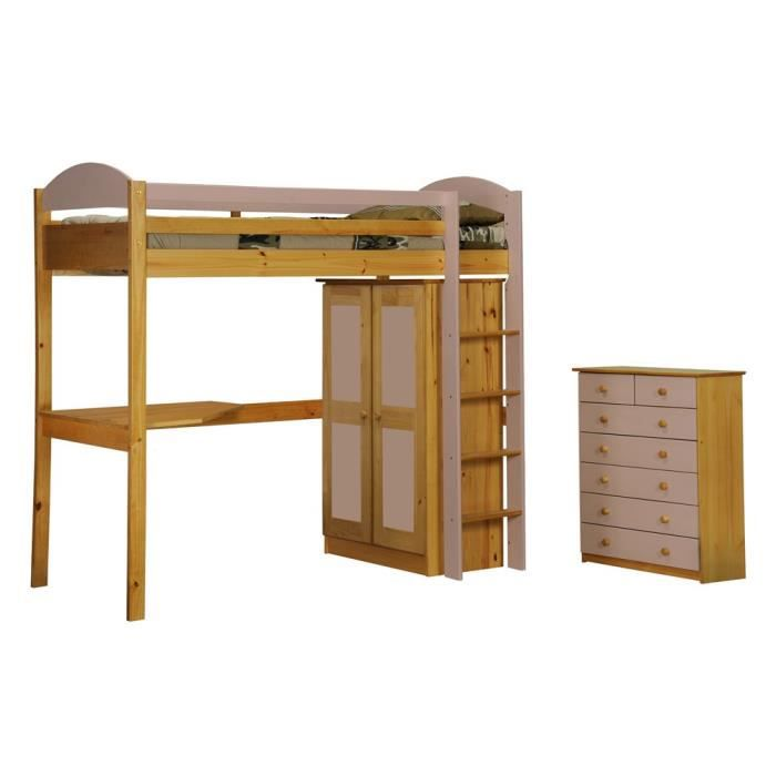 lit mezzanine maximus ensemble 2 90x190 naturel rose. Black Bedroom Furniture Sets. Home Design Ideas