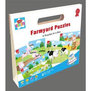 PUZZLE Boîte 4 Puzzles Farmyard Jigsaw avec les animaux d