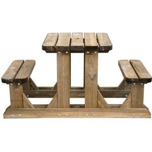 SALON DE JARDIN  Table pique-nique en bois duo