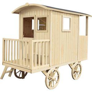 MAISONNETTE EXTÉRIEURE Cabane en bois pour enfant  ROULOTTE CARRY