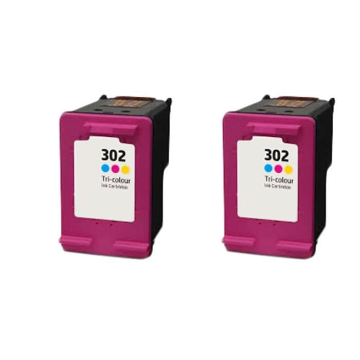 2 Tri-Couleur Compatible Encre Cartouche pour HP 302 XL Deskjet All-in-One 2130 2132 2134 3630 3632 Envy All-in One 3634 3636 3638