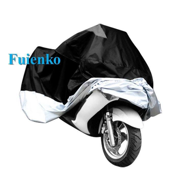 Fuienko HOUSSE BACHE MOTO Couvre-Moto VTT grande Taille 295x110x140 CM noir argente protection sportive modele
