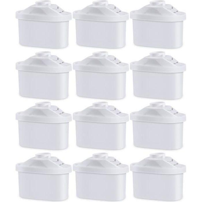 12x Cartouche Filtrante pour Carafe, Lot de 12 Filtres à Eau Universel pour BRITA MAXTRA