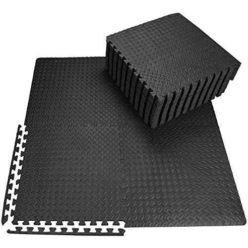 Ensemble de 12 Dalles Carrées NOIR - Tapis de sol, Sport, Gymnastique, Tapis Puzzle Antidérapant Mousse 60x60cm
