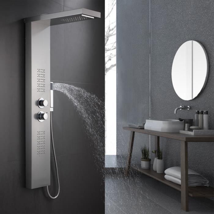 Colonne de douche Avec LED éclairage-Thermostatique Acier inoxydable Hydromassage 22*45*125cm