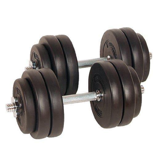 Lot de 2 haltères courts poids 30 kg (2 x 15 kg) avec disques set musculation fitness biceps 0701156