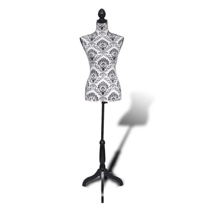 Mannequin Couture Femme - Buste Mannequin De Vitrine - Trépied Inclus - Montagne Facile&Léger - Hauteur Réglable - Blanc&Noir